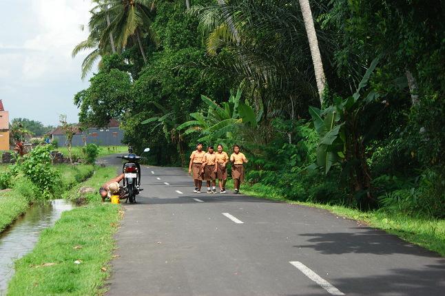 Enfants en uniforme sur le chemin de l'école.